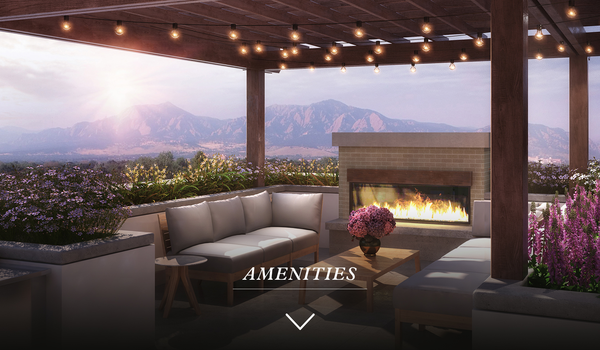 Parc Mosaic Apartments - Boulder, CO - Patio and View of Mountains